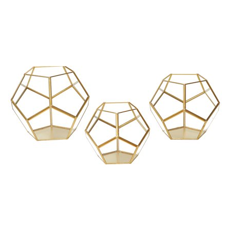 Better Homes & Gardens 3-Piece Brass Faceted Terrarium Set
