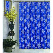 Carnation Home Fashions Snowflake Blue Winter Fabric Shower Curtain