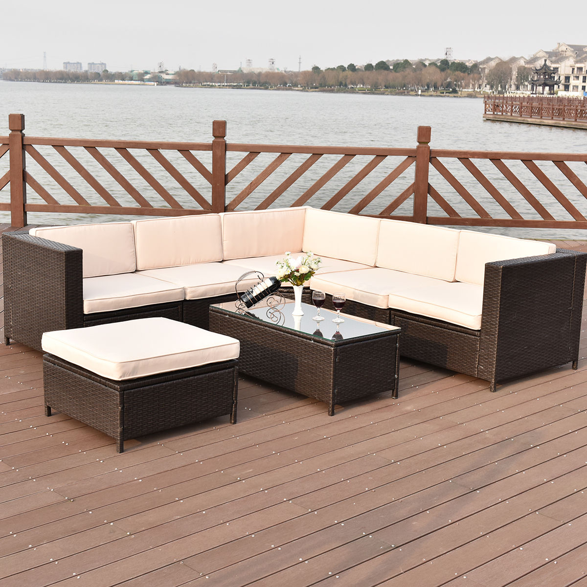Costway 7 PCS Outdoor Rattan Wicker Furniture Set Sectional Cushioned Seat  Garden Patio