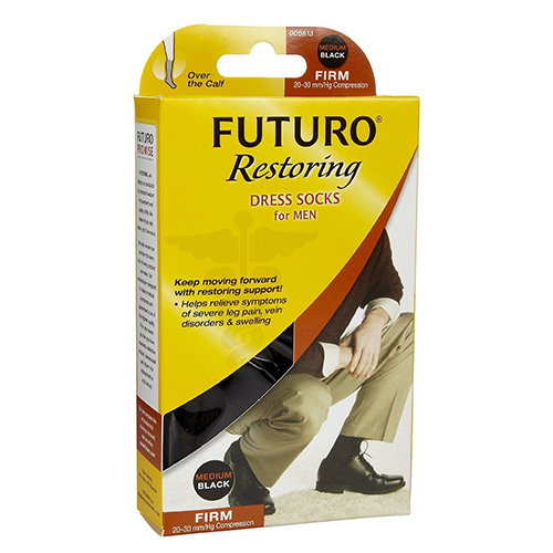 Futuro Mens Dress Support Socks, Firm Compression 20-30 Mm/Hg, Black, Size: Medium - 1 Ea