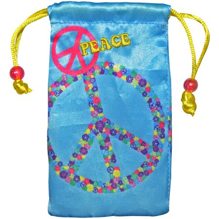 Universal Designer Handy Drawstring Pouch Jewelry Wedding Birthday Party Baby Shower Favor Gift Bags 4.5 x 2.75 inch - Peace Sign - Party Universe