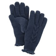 Isotoner Womens Navy Blue Cable Knit Gloves with Microluxe Lining