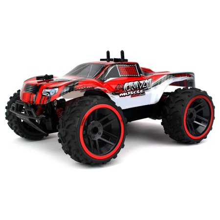 - Buggy Crazy Muscle Remote Control RC Truck Truggy 2.4 GHz PRO System 1:16 Scale Size RTR w/ Working Suspension, Spring Shock Absorbers (Colors May Vary)