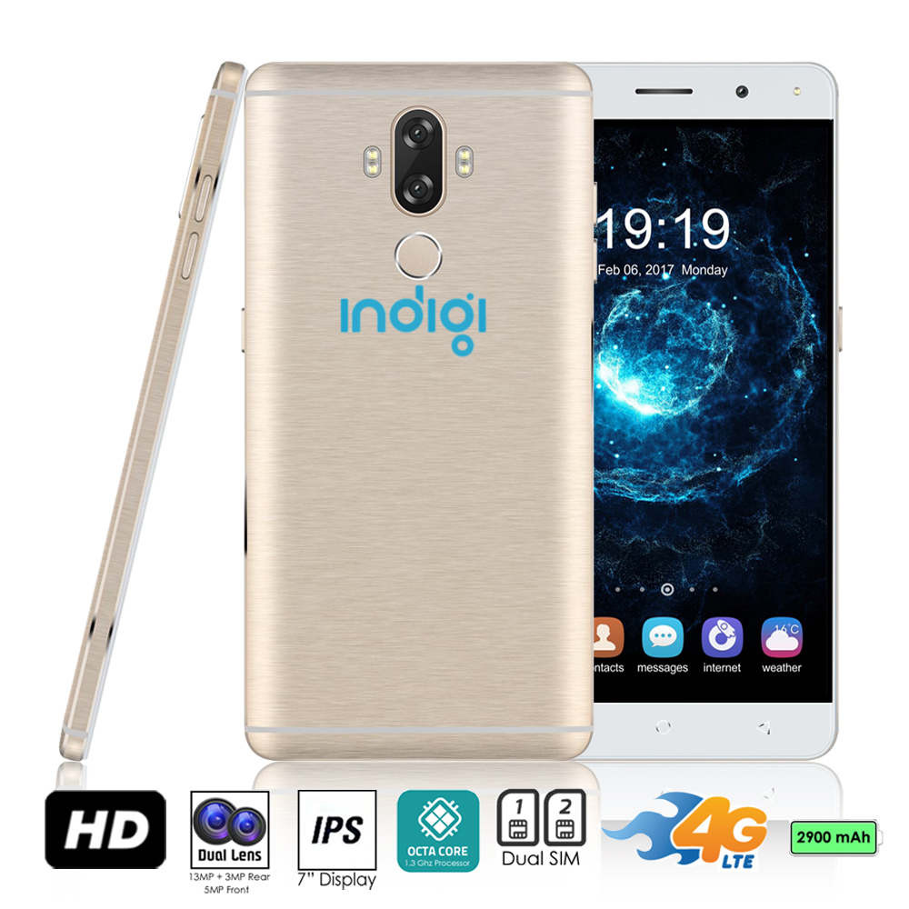 "Indigi® 2017 GSM UNLOCKED 4G LTE 6"" ANDROID 7 SmartPhone [2SIM + QUAD-CORE + Fingerprint Scanner + Bluetooth] Gold"