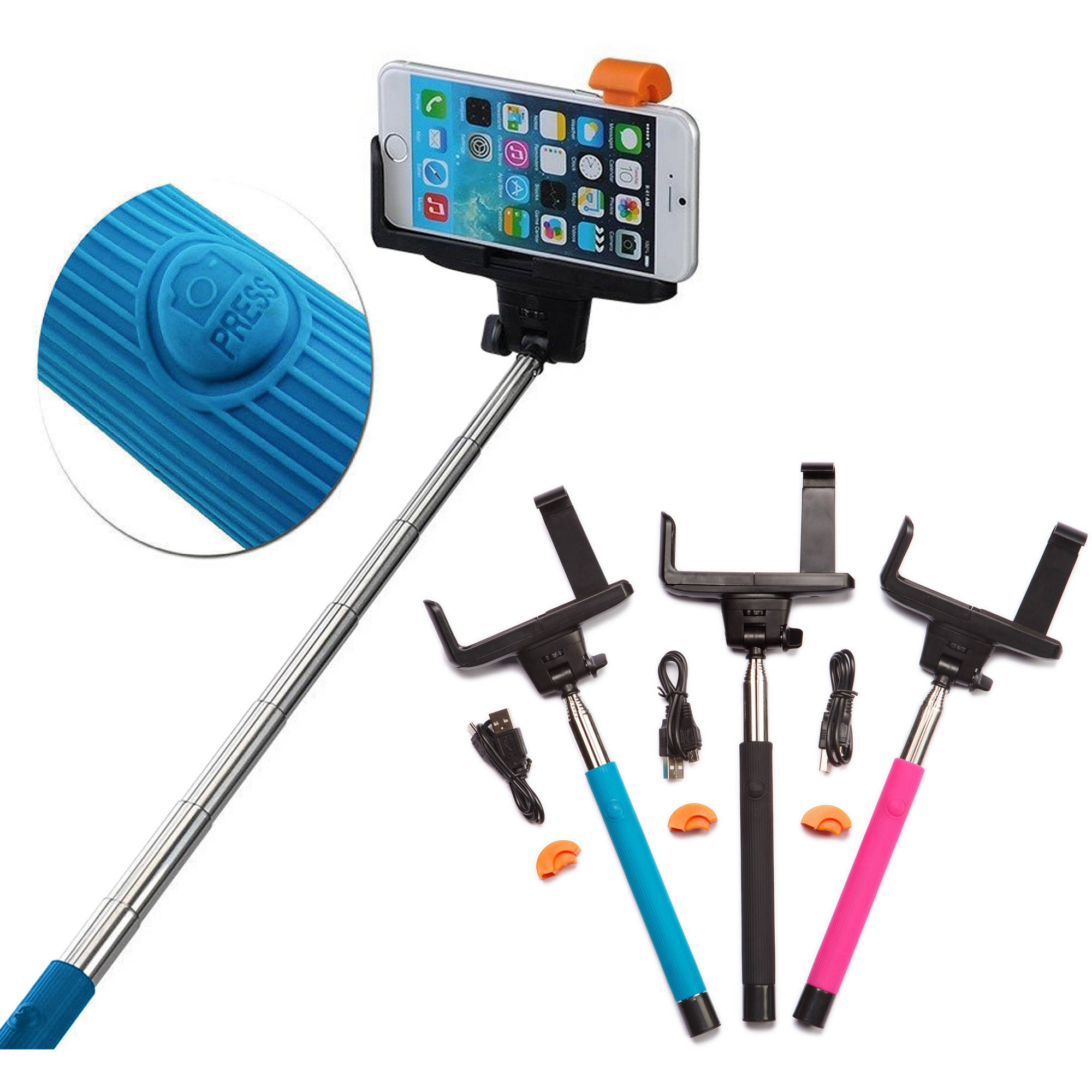 iPhone, Samsung Galaxy and Android Carco go selfie stick bluetooth remote shutter 42