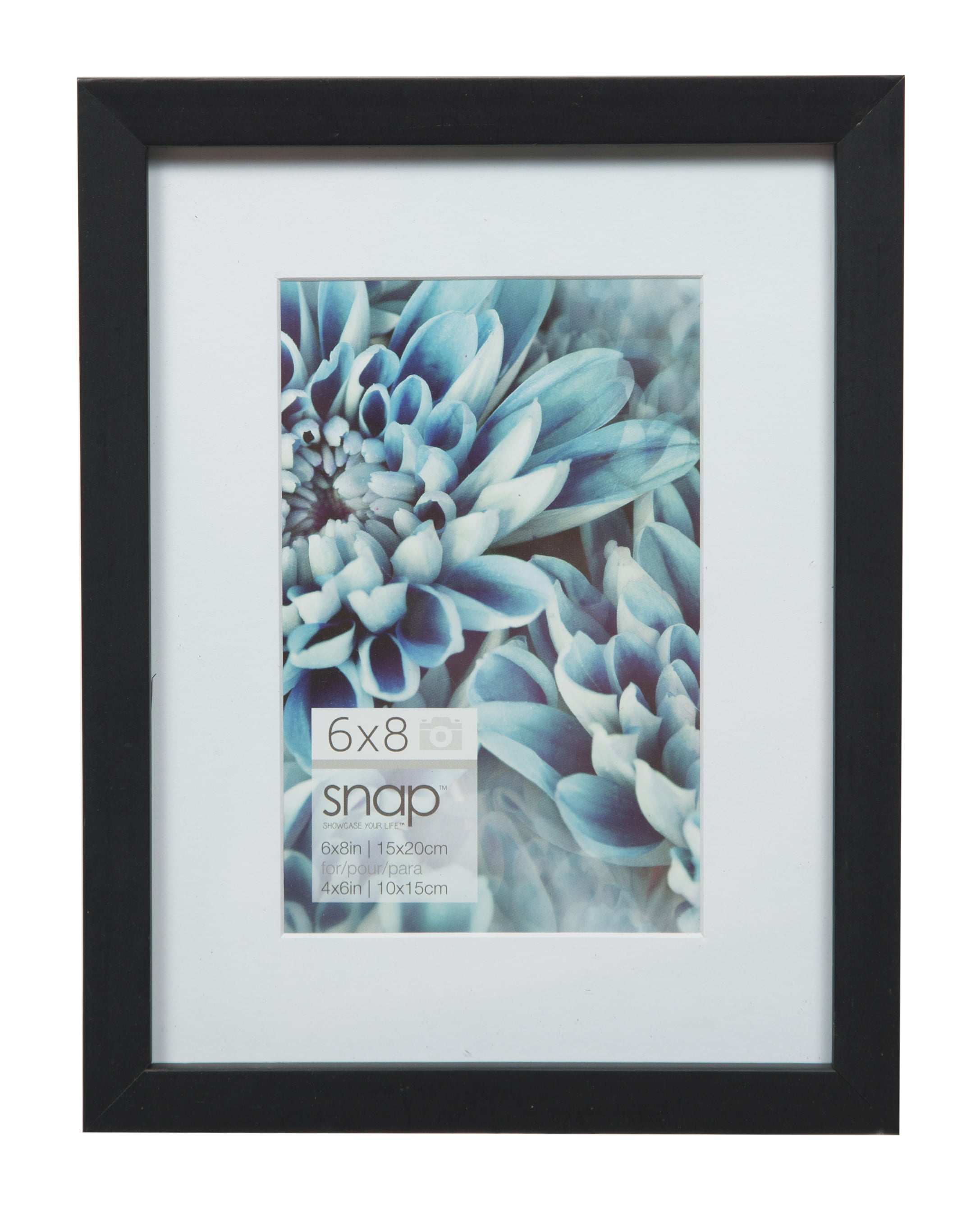 Snap 6x8 Black Wood Wall Frame Matted To 4x6 by Pinnacle Frames and Accents