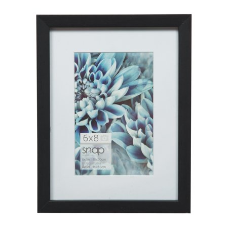 Black Wall Frame - Snap 6x8 Black Wood Wall Frame Matted To 4x6