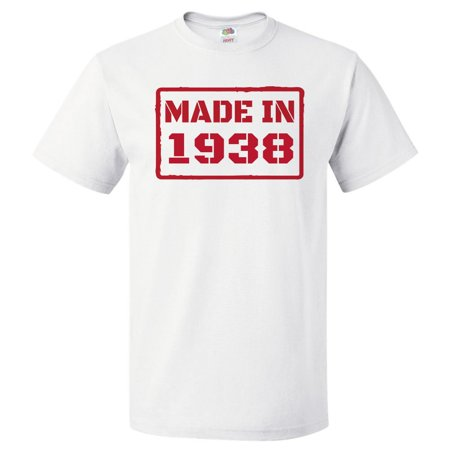 80th Birthday Gift For 80 Year Old Made In 1938 T Shirt