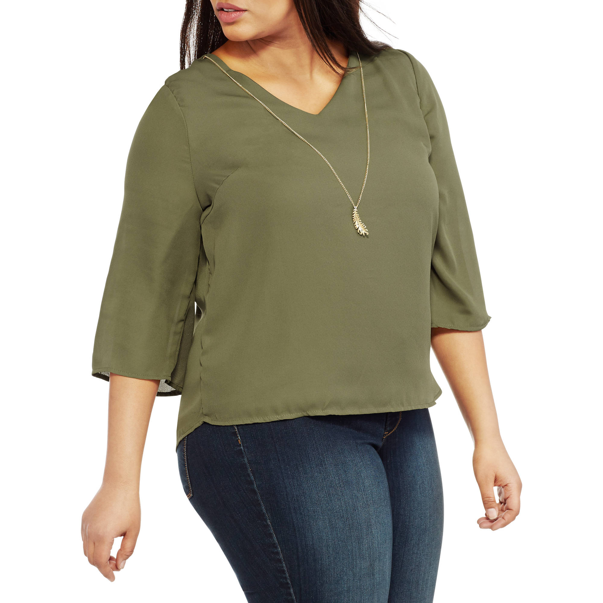 Extra Touch Women's Plus Open Back Long Sleeve Shirt