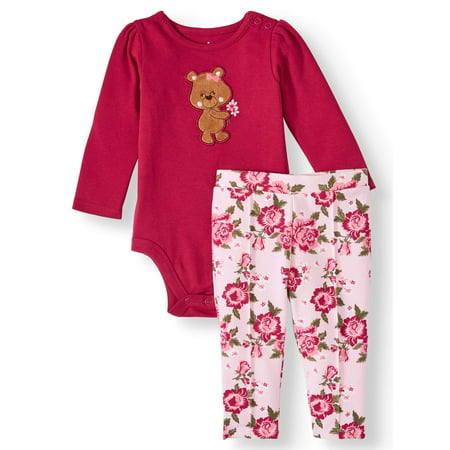 Garanimals Baby Girls Long Sleeve Applique Bodysuit & French Terry Pant, 2pc Outfit Set ()