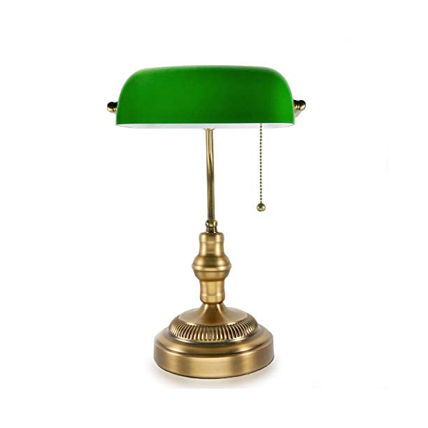 Traditional Bankers Lamp Brass Base, Replacement Glass Shade For Bankers Lamp