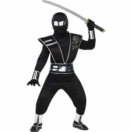 Silver Mirror Ninja Child Halloween Costume](Ninja Costume Makeup)