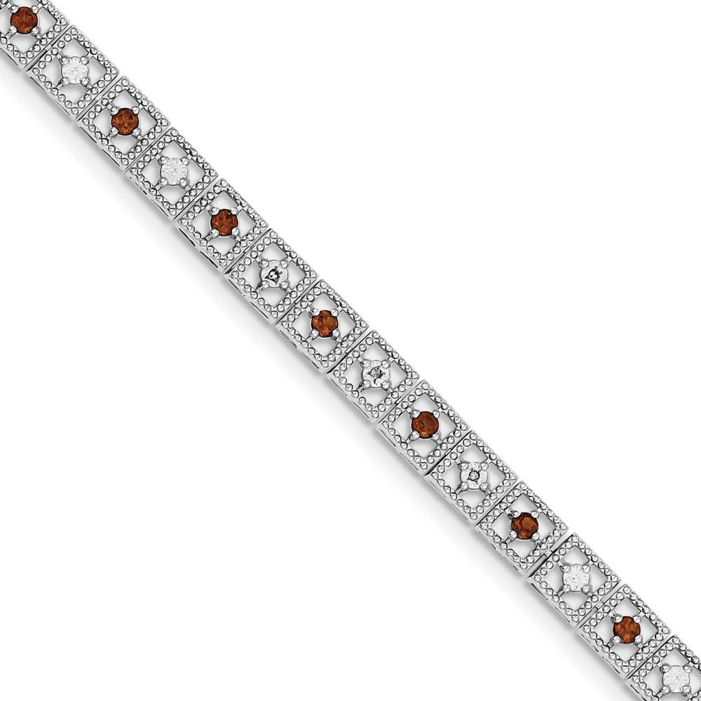 Sterling Silver Garnet Diamond Bracelet .02 dwt 1.16 cwt by