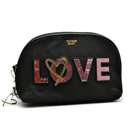 Victoria's Secret Love Cosmetic Bag Black Double Zip, Medium