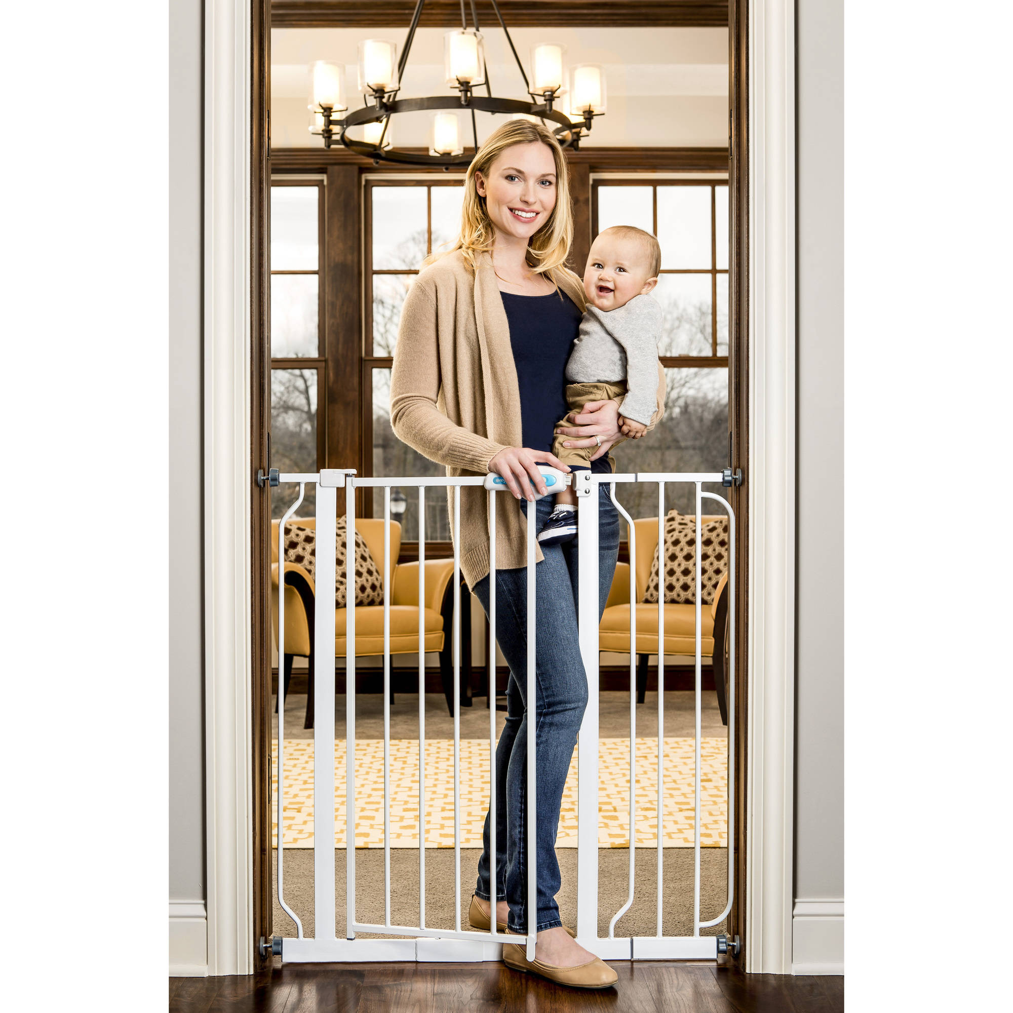 """Regalo Extra Tall Baby Gate, 30""""-40"""" with Walk Through Door"""