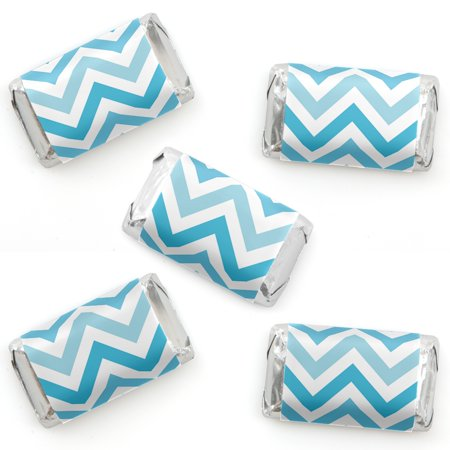 Chevron Blue - Mini Candy Bar Wrapper Stickers - Baby, Bridal Shower or Birthday Party Small Favors - 40 Count - Blue Wrapped Candy