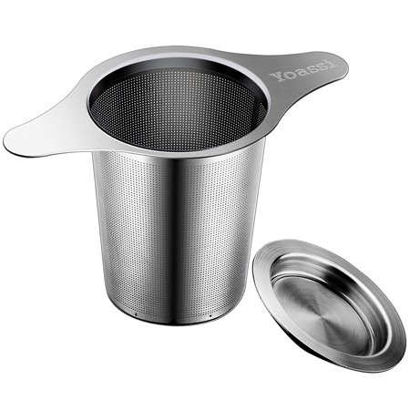 Yoassi Tea Strainers with Handle & Lid, Loose Leaf Tea Infuser Tea Filters for Loose Coffee, Stainless Steel Reusable Portable Extra Fine Mesh Tea Strainer Steeper - Hanging on Teapot, Mugs, Cups