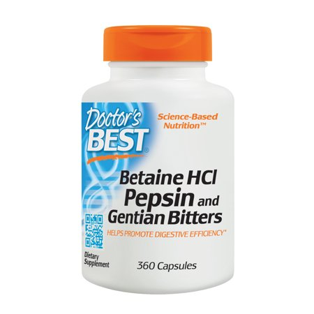 Doctor's Best Betaine HCI Pepsin and Gentian Bitters, Non-GMO, Gluten Free, Digestion Support, 360 (Best Merrell Bitters)