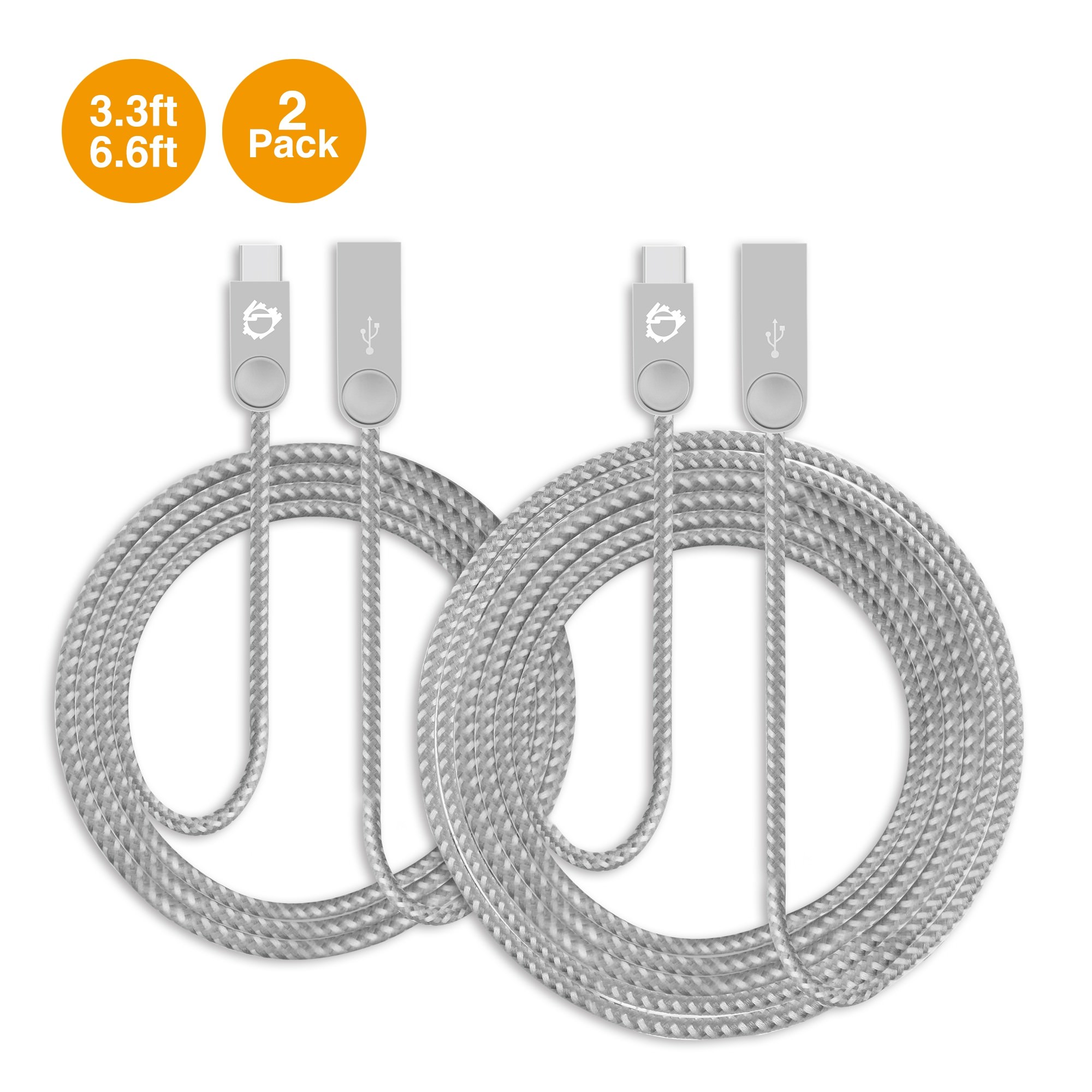 Zinc Alloy USB-C to Type-A Charging & Sync Braided Cable Bundle - 3.3ft & 6.6ft, 2-Pack