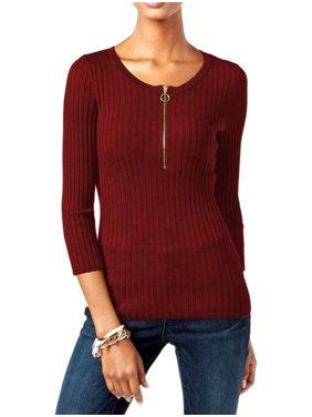 cbd8cbd207d Product Image INC Women Zip Up Ribbed 3 4 Sleeve Sweater BERRYSize X-Large