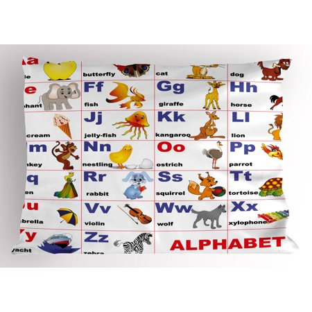 Educational Pillow Sham Animals Placed on Letter of the Alphabet Teacher's Chart Classroom Kindergarten, Decorative Standard Size Printed Pillowcase, 26 X 20 Inches, Multicolor, by Ambesonne (Standard Size Chart)