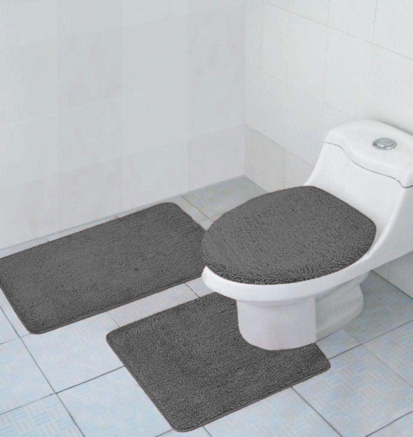 Hailey 3 Piece Bathroom Rug Set, Bath Mat, Contour Rug, Toilet Seat Lid Cover [Orange]