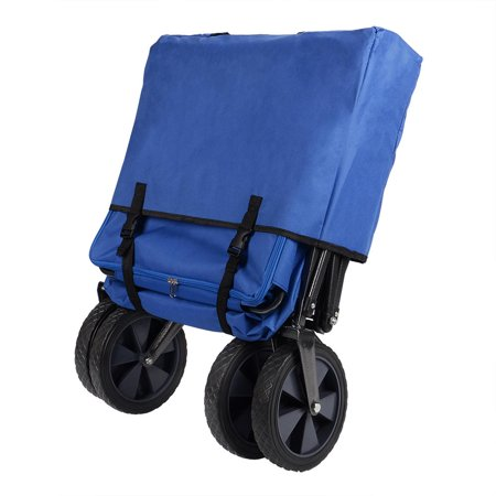 GreenWise Wheelbarrows, Collapsible Wagon Folding Utility Outdoor Garden Cart with Canopy,165lb Capacity (Blue) - image 2 of 6