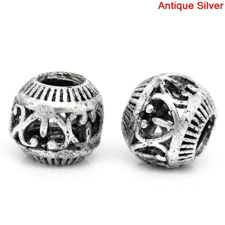 Sexy Sparkles 10 Pcs Round Hollow Spacer Beads Antique Silver Heart Pattern Carved 10mm