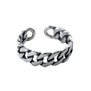 Fancyleo Retro Openwork Link Chain Ring Band Open Ring Vintage Silver Black Opening Ring