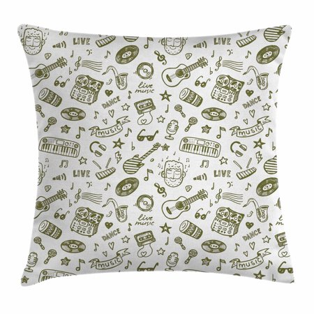 Doodle Throw Pillow Cushion Cover, Hand Drawn Music Collection of Item Bearded Musician Guitar Recorder Mic, Decorative Square Accent Pillow Case, 20 X 20 Inches, Olive Green White, by Ambesonne