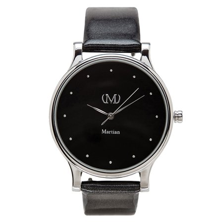 Martian Mps01cl072 Womens Cl07 Mvip Black Dial Charcoal Patent Leather Strap Smartwatch