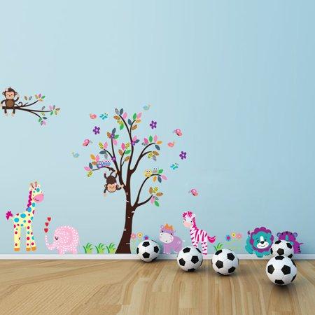 DIY Cartoon Animal Theme PVC Wall Sicker with Elephant Hippo Zebra Lion Monkey Giraffe Tree - Monkey Theme