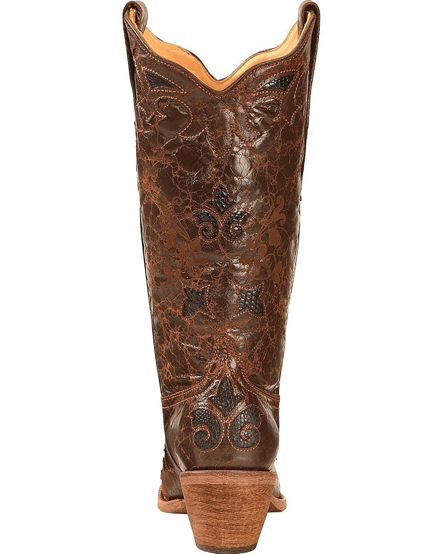 CORRAL Women's Chocolate Lizard Inlay Snip Toe B(M) Cowgirl Boots C2118 (5 B(M) Toe US) 4e89c0