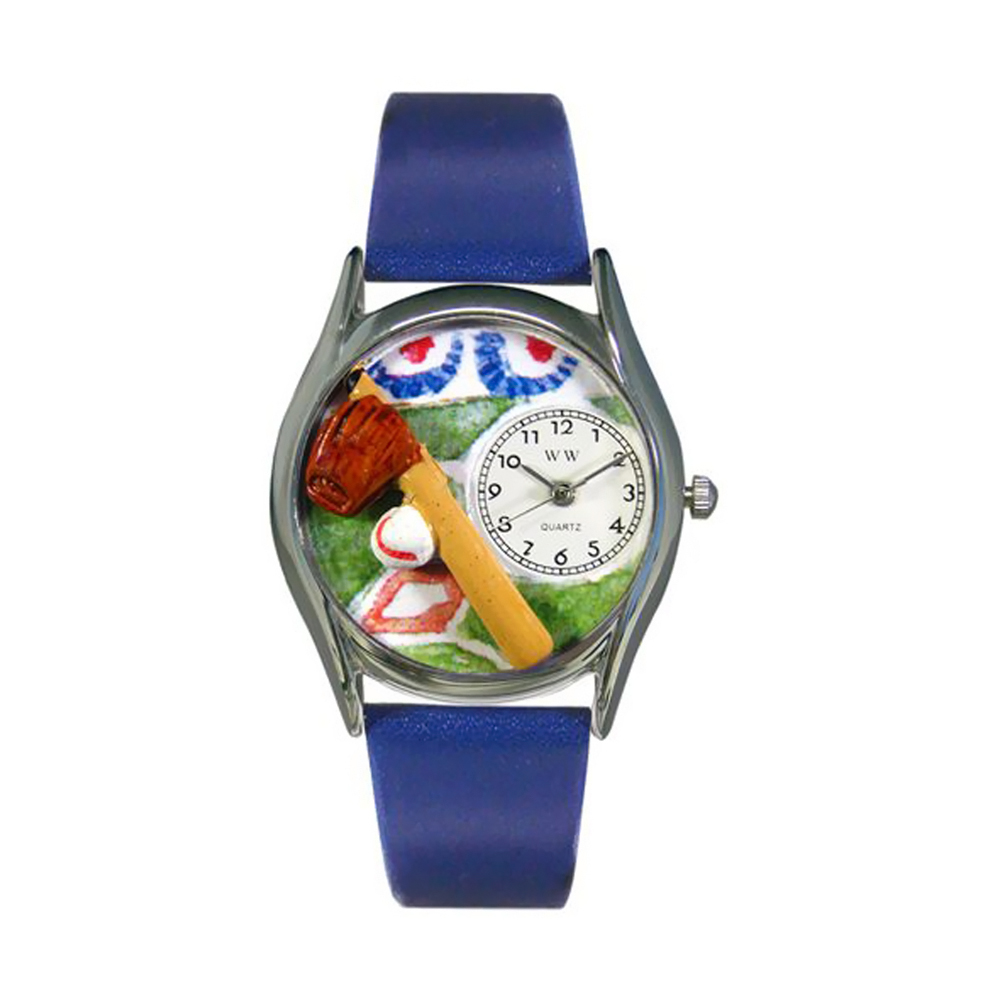 Whimsical Baseball Royal Blue Leather And Silvertone Watch
