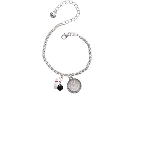 Bowling Pins with Bowling Ball Sun Sea Sand Serenity Engraved Bracelet