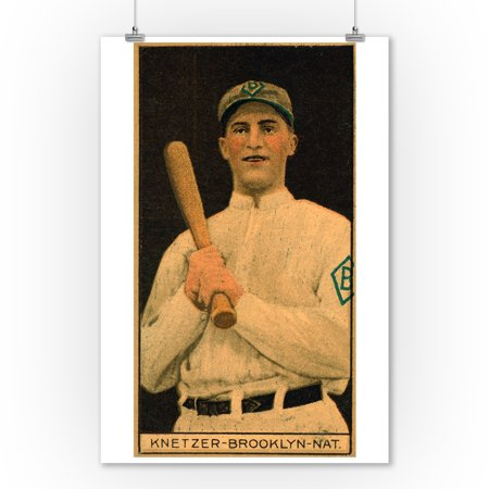 Brooklyn Dodgers - Elmer Knetzer - Baseball Card (9x12 Art Print, Wall Decor Travel - Baseball Wall Decor