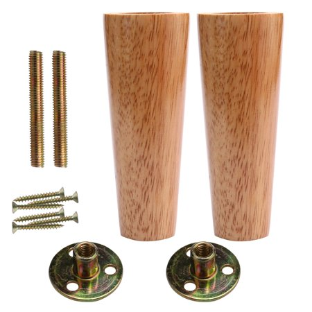 6 Inch Round Wood Furniture Legs Cabinet Feet Replacement Height Adjuster 2pcs Image 7 Of