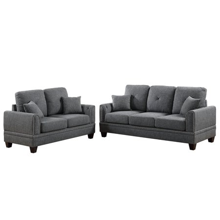 Cotton Loveseat - Bobkona Bailey Cotton Blended Polyfabric 2-Piece Sofa and Loveseat Set, Multiple Colors