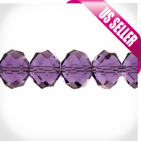 Amethyst Roundelle Crystal Beads 12x16mm, 38-Facet Surface Cutted, 20 Beads / string of 16 inchs