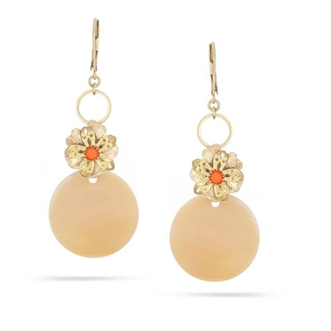 Eshopo 0900000021015 Gold-Tone Metal Coral And Mother of Pearl Drop Earrings