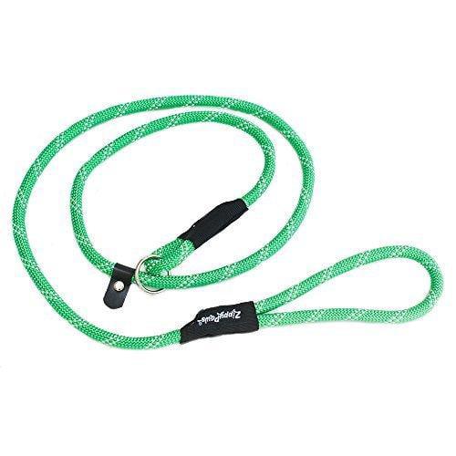 ZippyPaws Climbers Mountain Climbing Rope Leash - Slip Lead 6-Feet (Green, Slip Lead 6-Feet (12 rope))