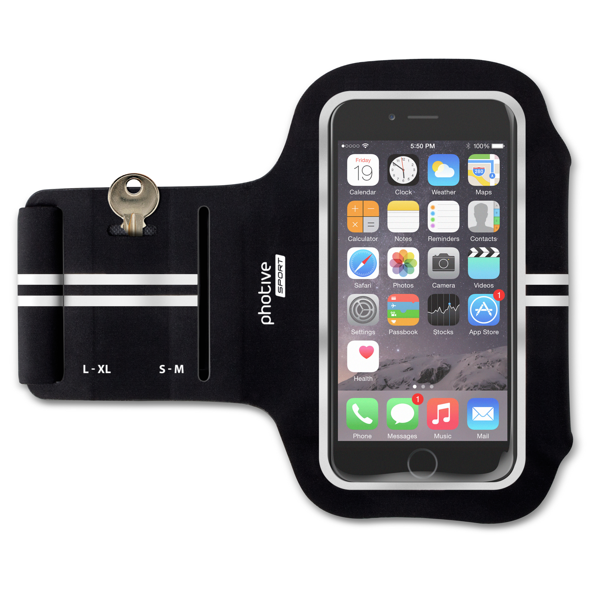 Photive iSport Water Resistant iPhone 6/6S Fitness Armband with Reflective Stripes. Running, Jogging, Cycling, and Outdoor Enthusiast Armband for Apple iPhone 6/6S