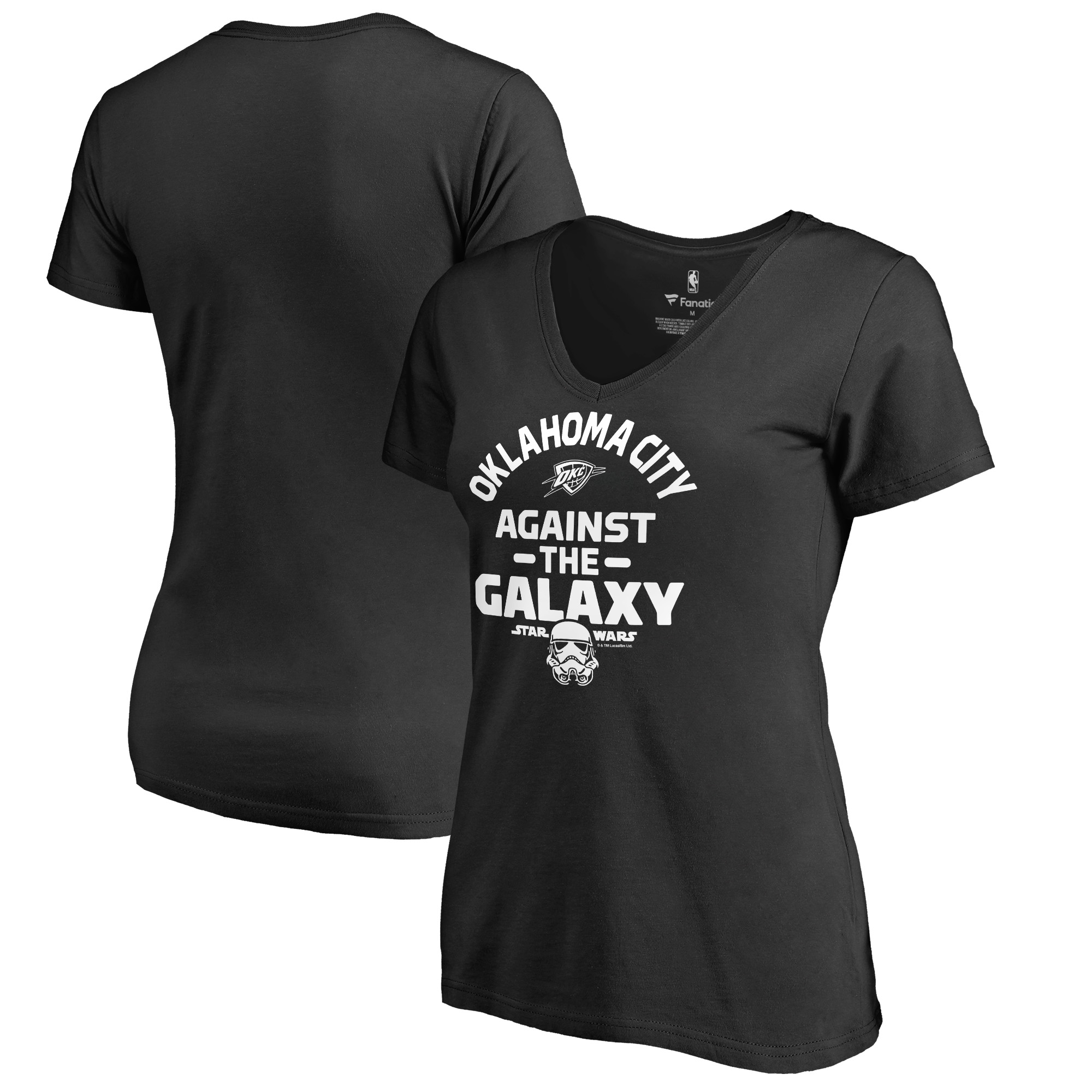 Oklahoma City Thunder Fanatics Branded Women's Star Wars Against the Galaxy V-Neck T-Shirt - Black