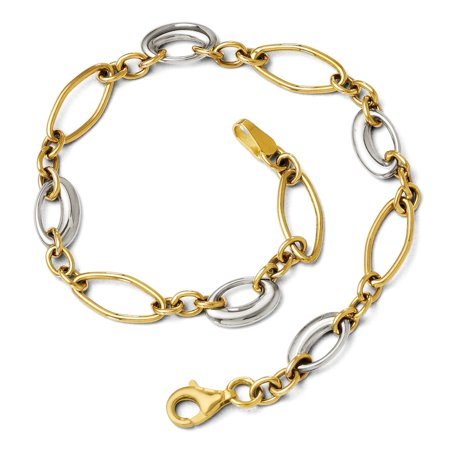 14k Two Tone Gold 6mm Polished Oval Link Chain Bracelet, 7.25 (14k Two Tone Gold Bracelet)