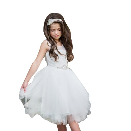 Fairy Tale Chiffon Dress (Think Pink Bows Girls Off-White Lace Fairy Tale Junior Bridesmaid)