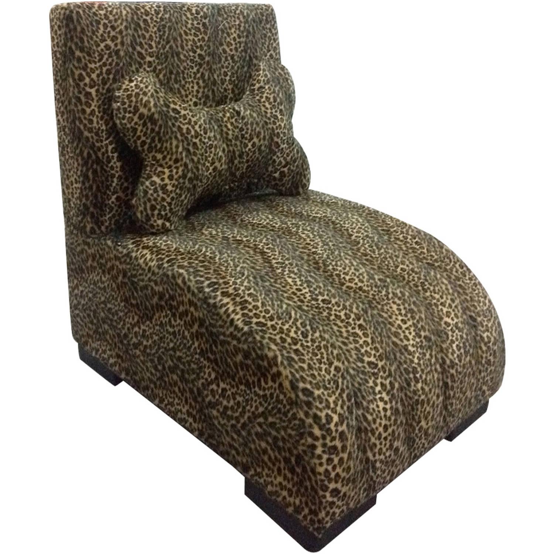 """22.75""""H Leopard Lounge Upholstered Pet Furniture"""
