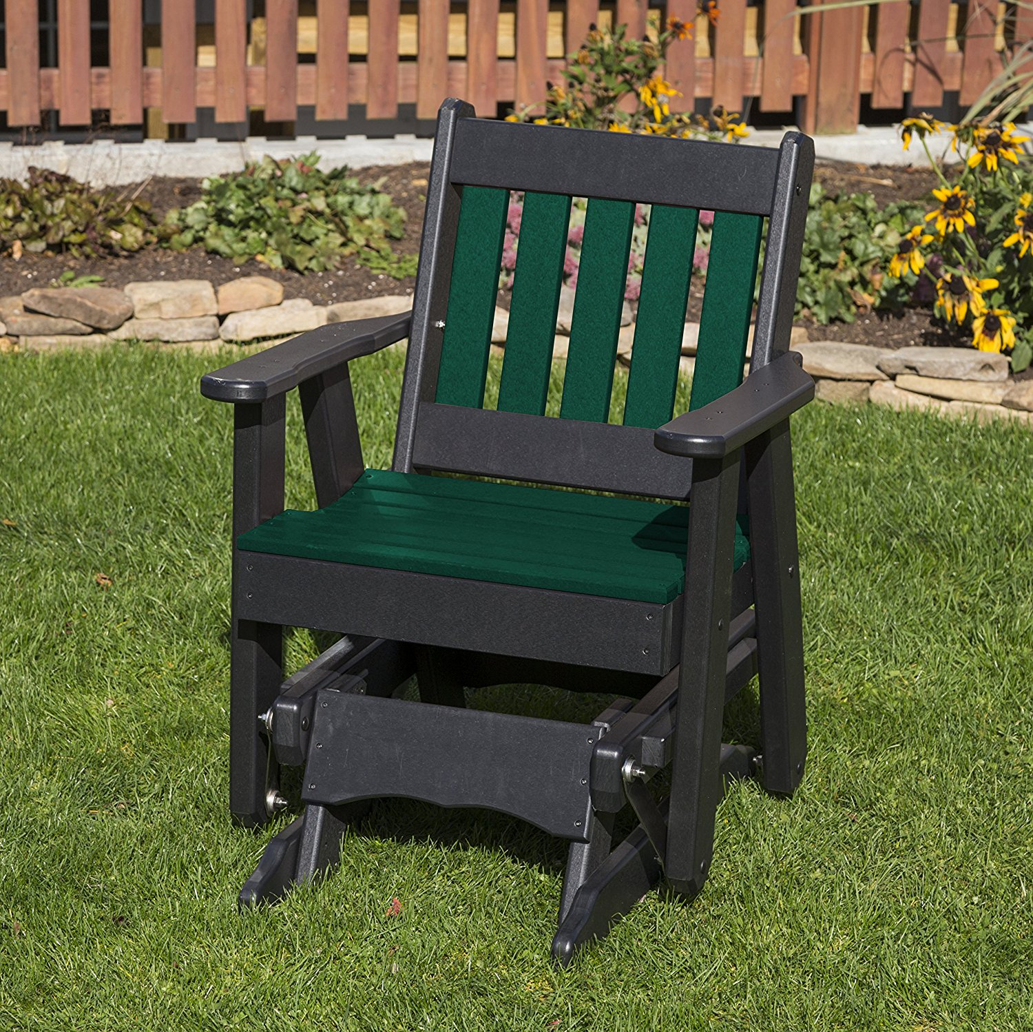 Outdoor Patio Garden Lawn Exterior Turf Green Finish Poly Lumber Mission 2 Ft Glider Everlasting - Amish Crafted