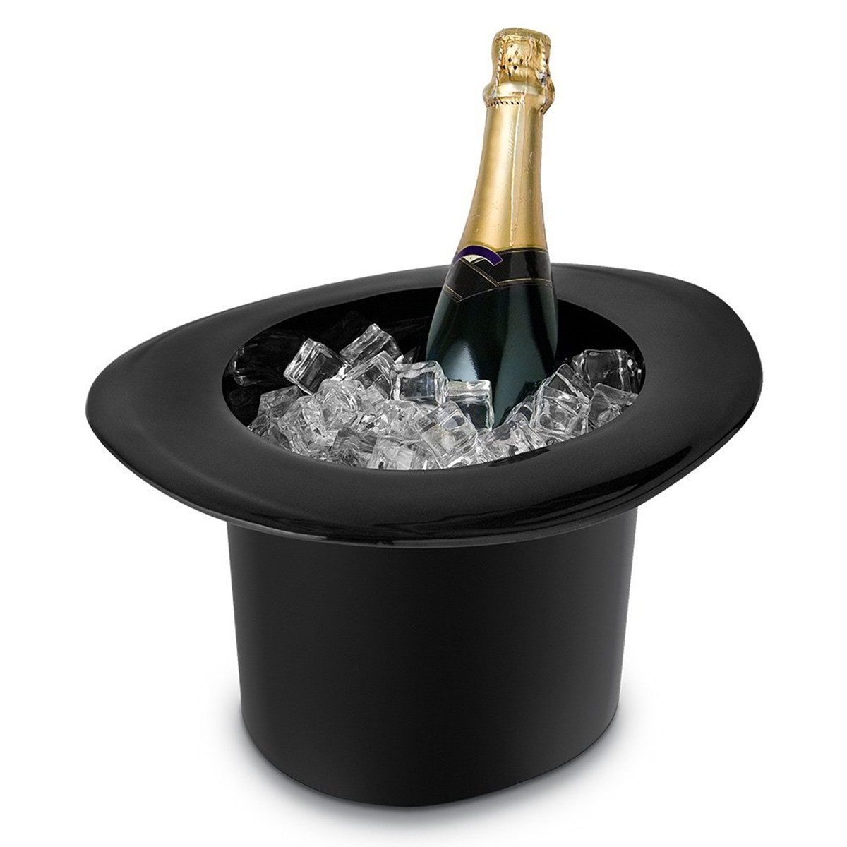 1.2L Top Hat Cap Shaped Ice Bucket for 2 Champagne Wine Bottle Drinking Cooler Acrylic Black by