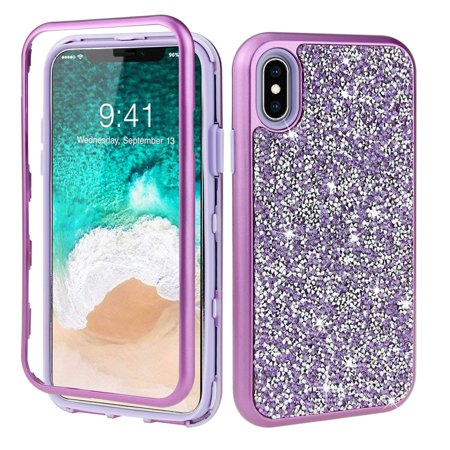 low priced 1965c ffddd iPhone XS Case, Dteck Shockproof Hybrid 3 in 1 Glitter PC Soft Rubber Back  Protective Cover For Apple iPhone XS / iPhone X, Purple