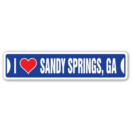 I LOVE SANDY SPRINGS, GEORGIA Street Sign ga city state us wall road décor gift (Halloween Sandy Springs)
